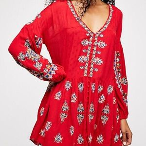 Free People Arianna Embroidered Tunic Dress S